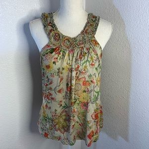 American Rag Cut Out Floral Tank Top